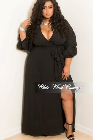 Final Sale Plus Size Off the Shoulder Long Dress with Ruffle Bottom and Front Slit in Black