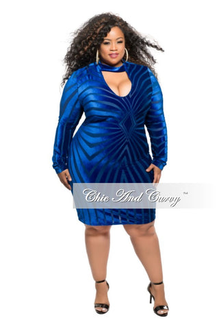 Final Sale Plus Size BodyCon Velvet and Mesh Mini Dress in Royal Blue