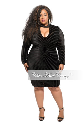 Final Sale Plus Size BodyCon Velvet and Mesh Mini Dress in Black