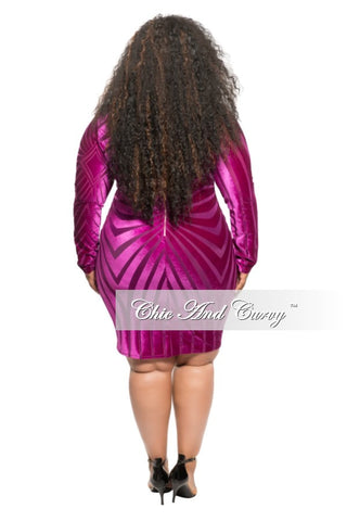 Final Sale Plus Size BodyCon Velvet and Mesh Mini Dress in Fuchsia