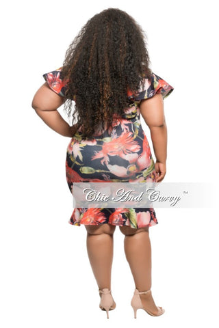 New Plus Size Off the Shoulder BodyCon Dress in Navy Blue with Floral Print