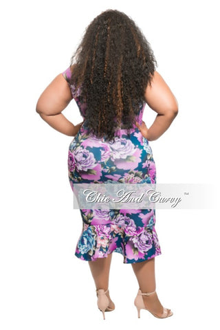 New Plus Size BodyCon Off the Shoulder Dress in Blue/Lavender Floral