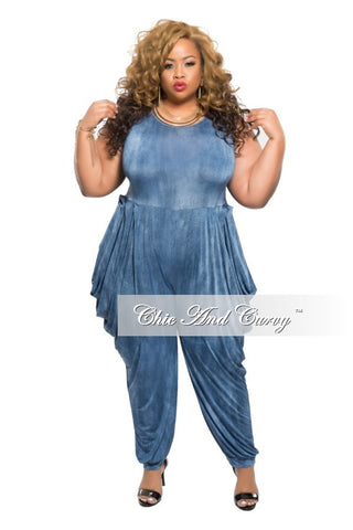 New Plus Size Harem Sleeveless Jumpsuit in Denim Texture