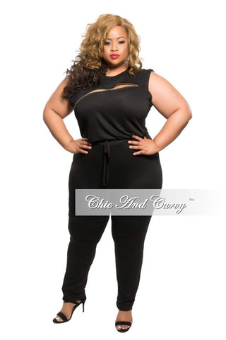 New Plus Size Sleeveless Jumpsuit with Zipper Slit in Black