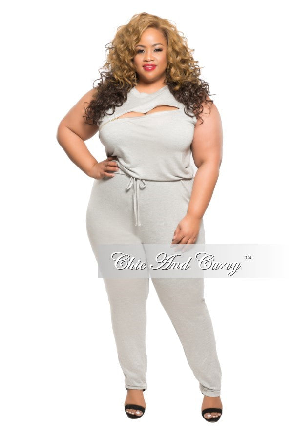 New Plus Size Sleeveless Jumpsuit with Zipper Slit in Grey