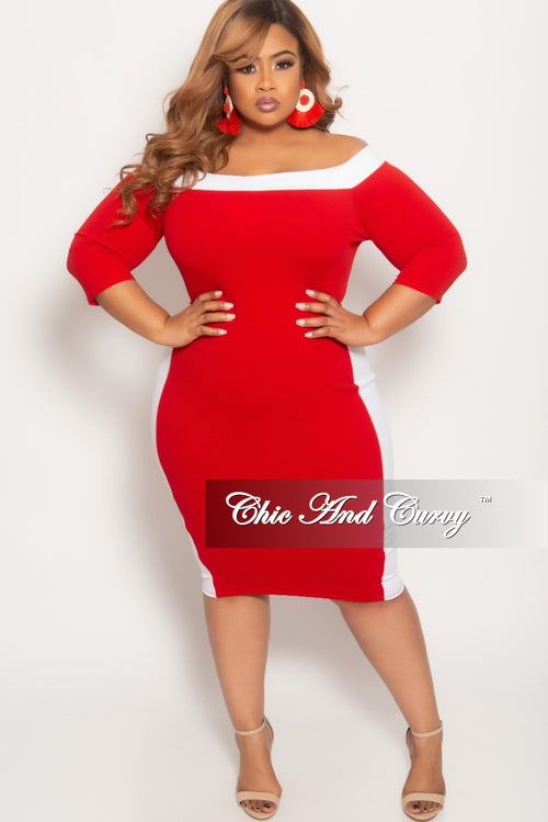 New Plus Size Off the Shoulder BodyCon Dress in Red with White Trim