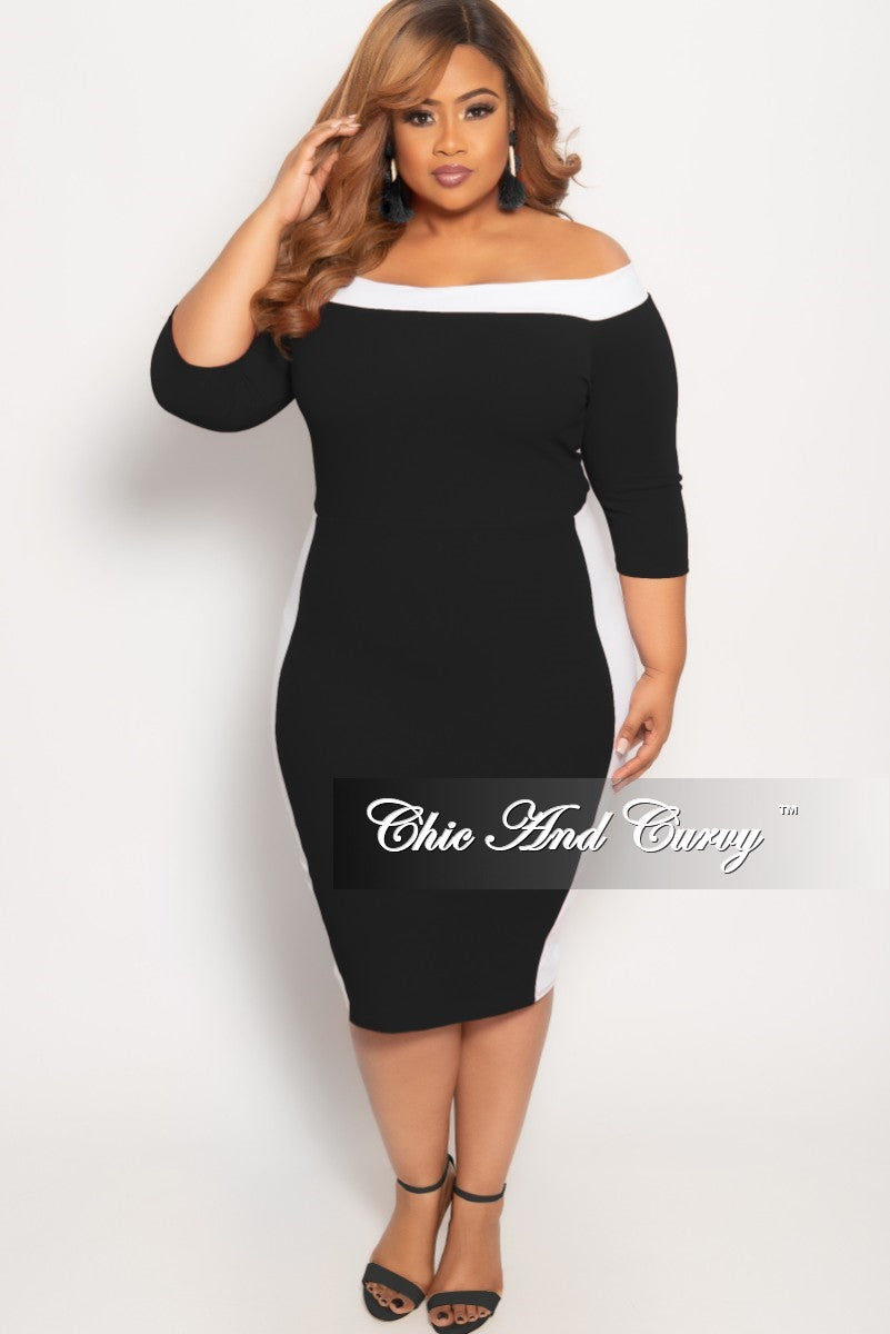 987fedbb9061e New Plus Size Off the Shoulder BodyCon Dress in Black with White Trim – Chic  And Curvy