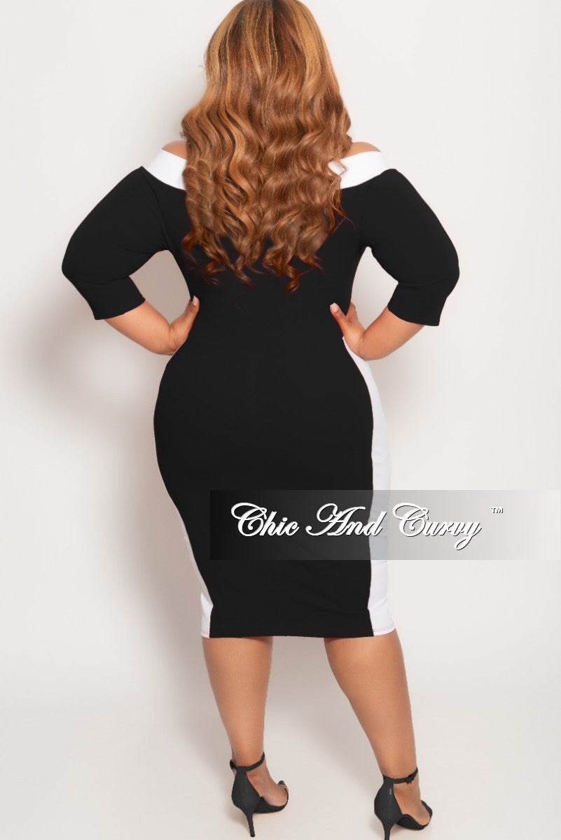 New Plus Size Off the Shoulder BodyCon Dress in Black with White Trim