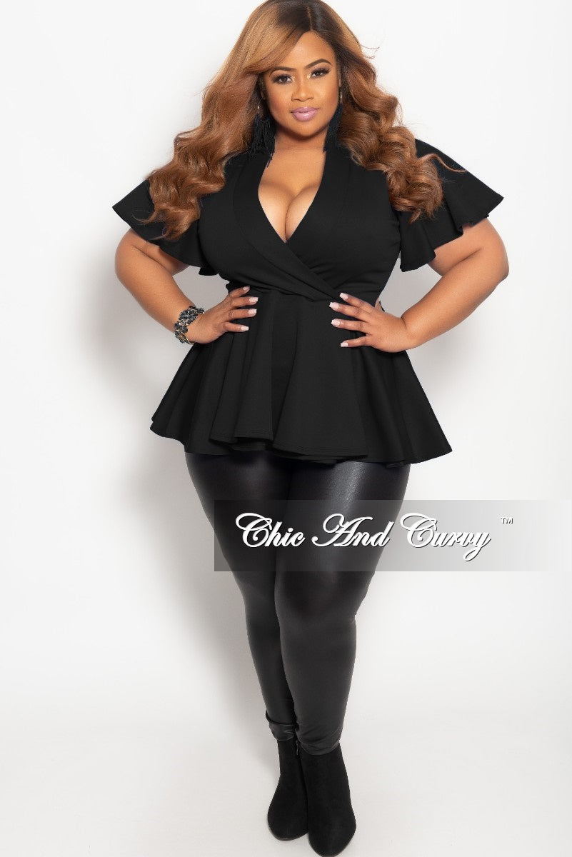 Final Sale Plus Size Short Sleeve Faux Wrap Peplum Top in Black