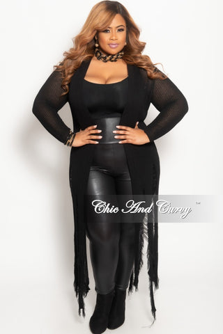 New Plus Size Caftan with Tassels and Back Design in Black