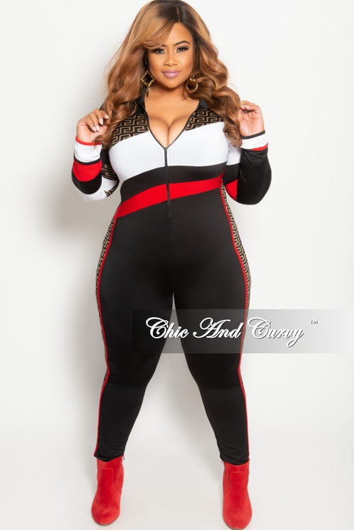 72c88b2eed11 Final Sale Plus Size Zip-Up Maze Print Jumpsuit in Black Red and White