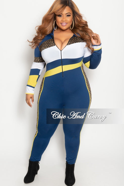 6920c95eb4ff Final Sale Plus Size Zip-Up Maze Print Jumpsuit in Navy Yellow and White