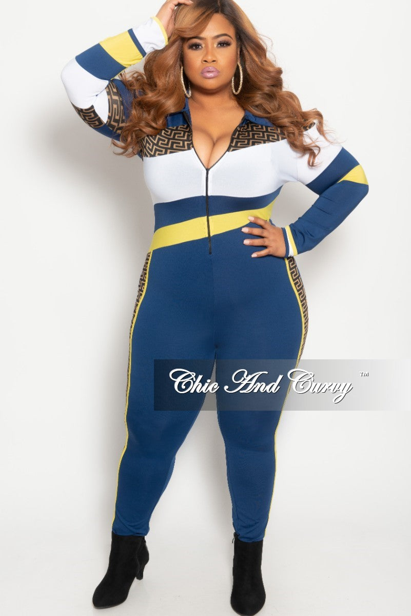 Final Sale Plus Size Zip-Up Maze Print Jumpsuit in Navy Yellow and White
