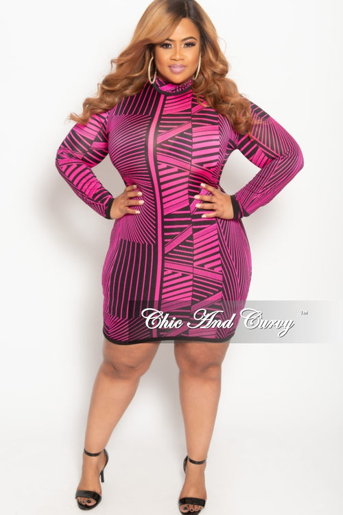 New Plus Size Long Sleeve BodyCon Dress with Back Zipper in Hot Pink and Black