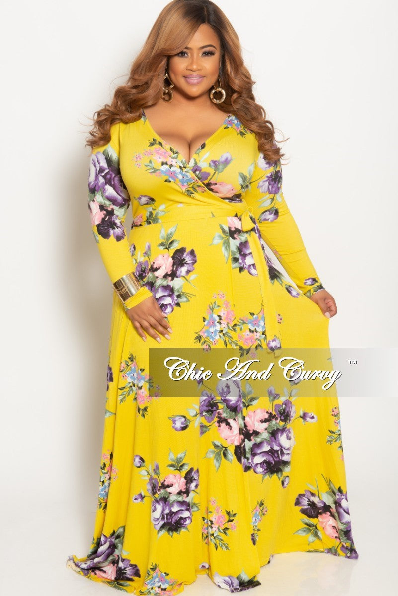 bf24024c1ba New Plus Size Long Wrap Dress with Attached Tie Yellow Floral Print – Chic  And Curvy