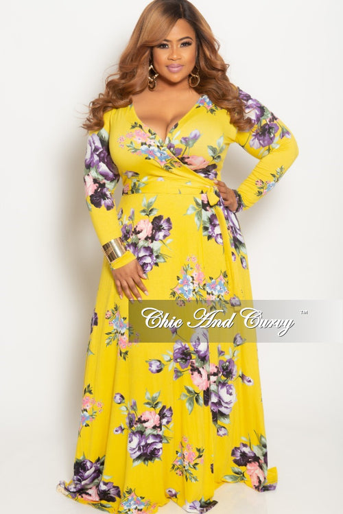 New Plus Size Long Wrap Dress with Attached Tie Yellow Floral Print