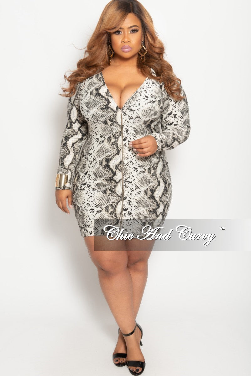 Final Sale Plus Size Long Sleeve Zip-Up BodyCon Dress in Ivory and Black Snake Print