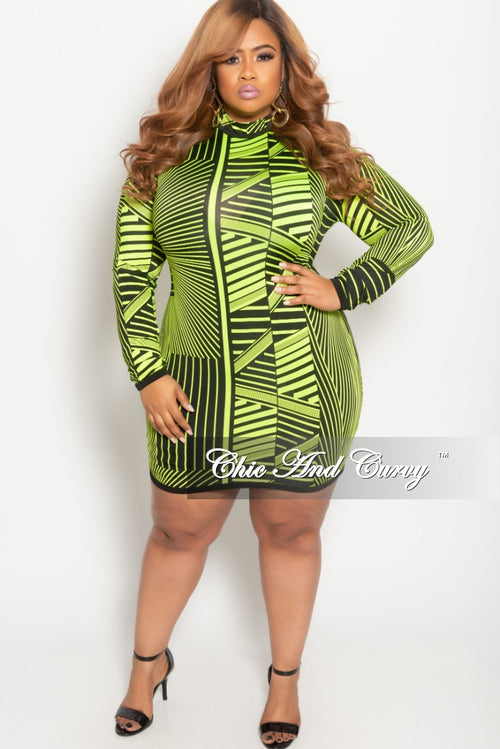 a9cc04533c15 New Plus Size Long Sleeve BodyCon Dress with Back Zipper in Neon Green and  Black