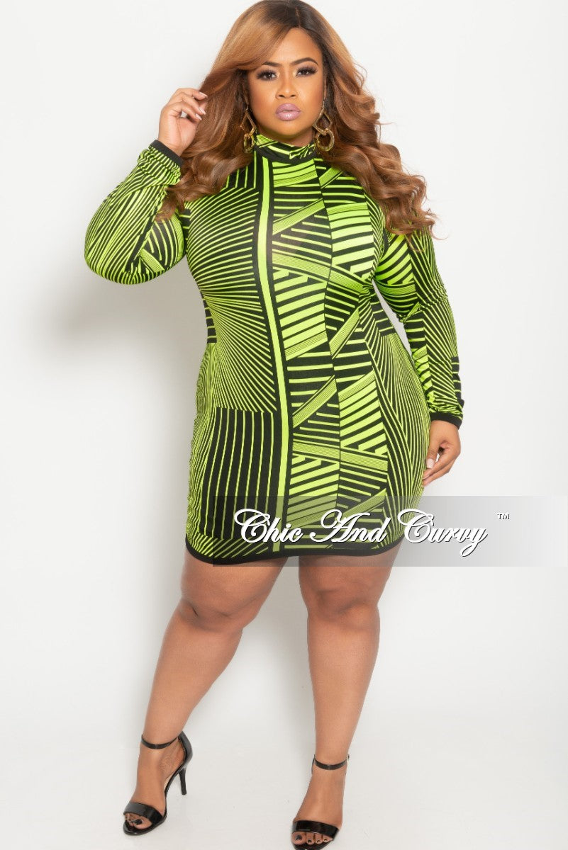 New Plus Size Long Sleeve BodyCon Dress with Back Zipper in Neon Green and Black