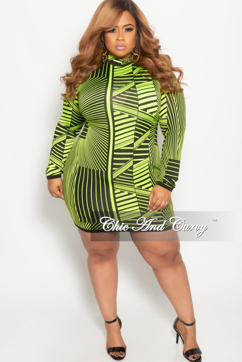 Final Sale Plus Size Long Sleeve BodyCon Dress with Back Zipper in Neon Green and Black