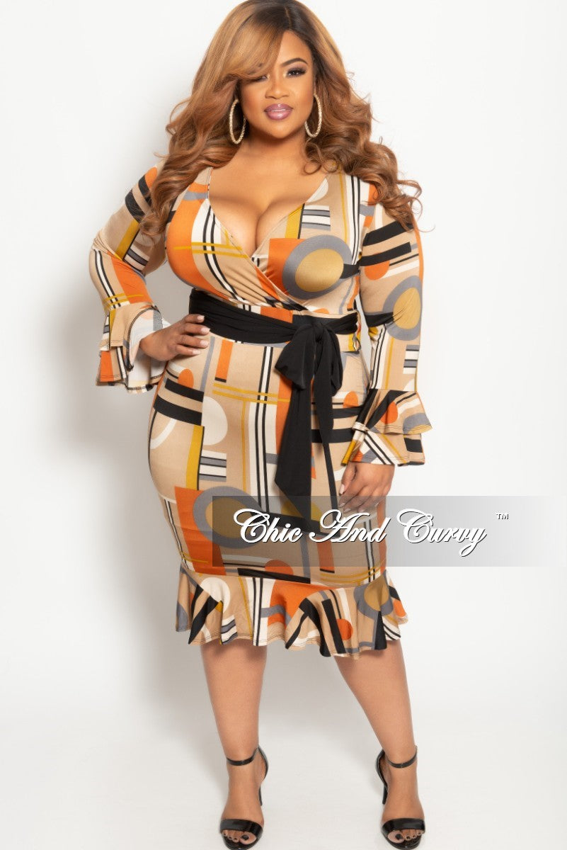 d9286d79a5409 New Plus Size Long Sleeve Faux Wrap BodyCon Dress with Attached Tie and  Ruffle Trim in