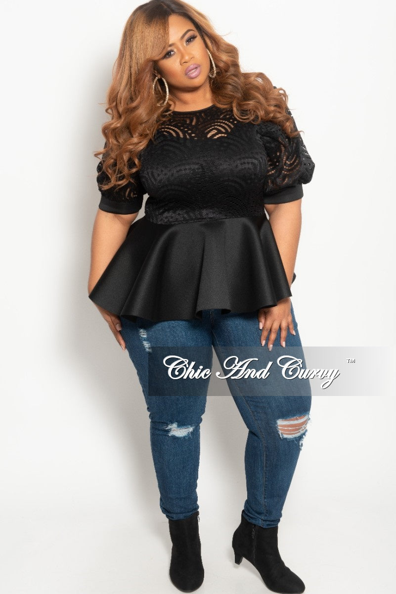 369559fe9e64c Final Sale Plus Size Lace Top with Peplum Bottom in Black Scuba – Chic And  Curvy