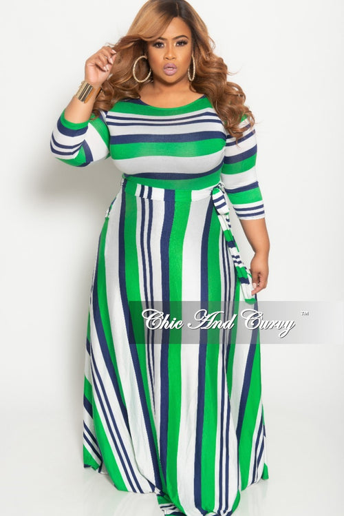 Final Sale Plus Size Long Pocket Dress with 3/4 Sleeve and Tie in Green Navy and White Striped Print
