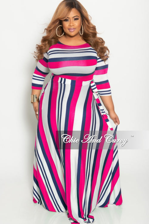 Final Sale Plus Size Long Pocket Dress with 3/4 Sleeve and Tie in Magenta Navy and White Striped Print