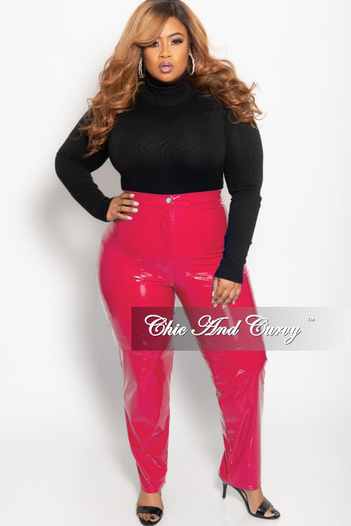 9073221d807 Final Sale Plus Size High Waist Patent Leather Pants with Front Gold Button  in Hot Pink