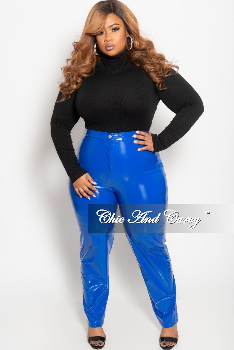 Final Sale Plus Size High Waist Patent Leather Pants with Front Gold Button in Royal Blue