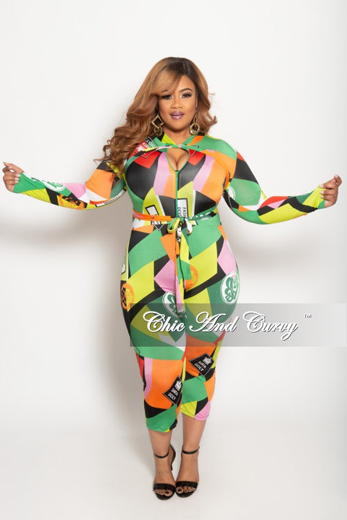 c6ac14bf77ac New Plus Size Long Sleeve Zip-Up Jumpsuit with Bow Tie in Multi Color  Cartoon