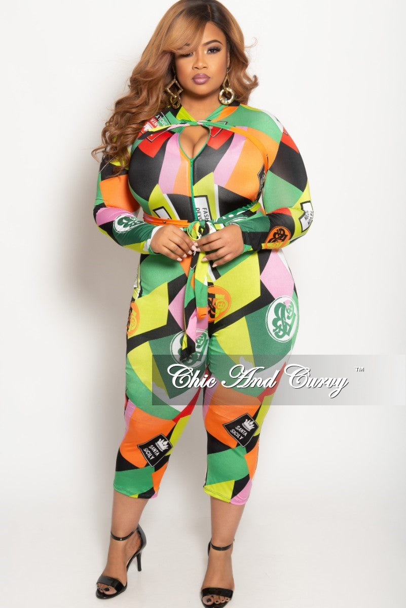 New Plus Size Long Sleeve Zip-Up Jumpsuit with Bow Tie in Multi Color Cartoon Print