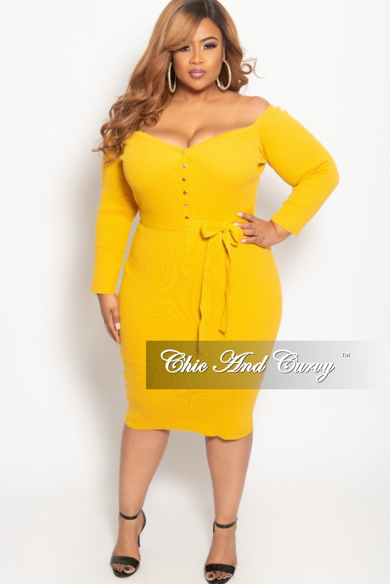 New Plus Size Off the Shoulder Button Up BodyCon Dress in Mustard Ribbed Fabric