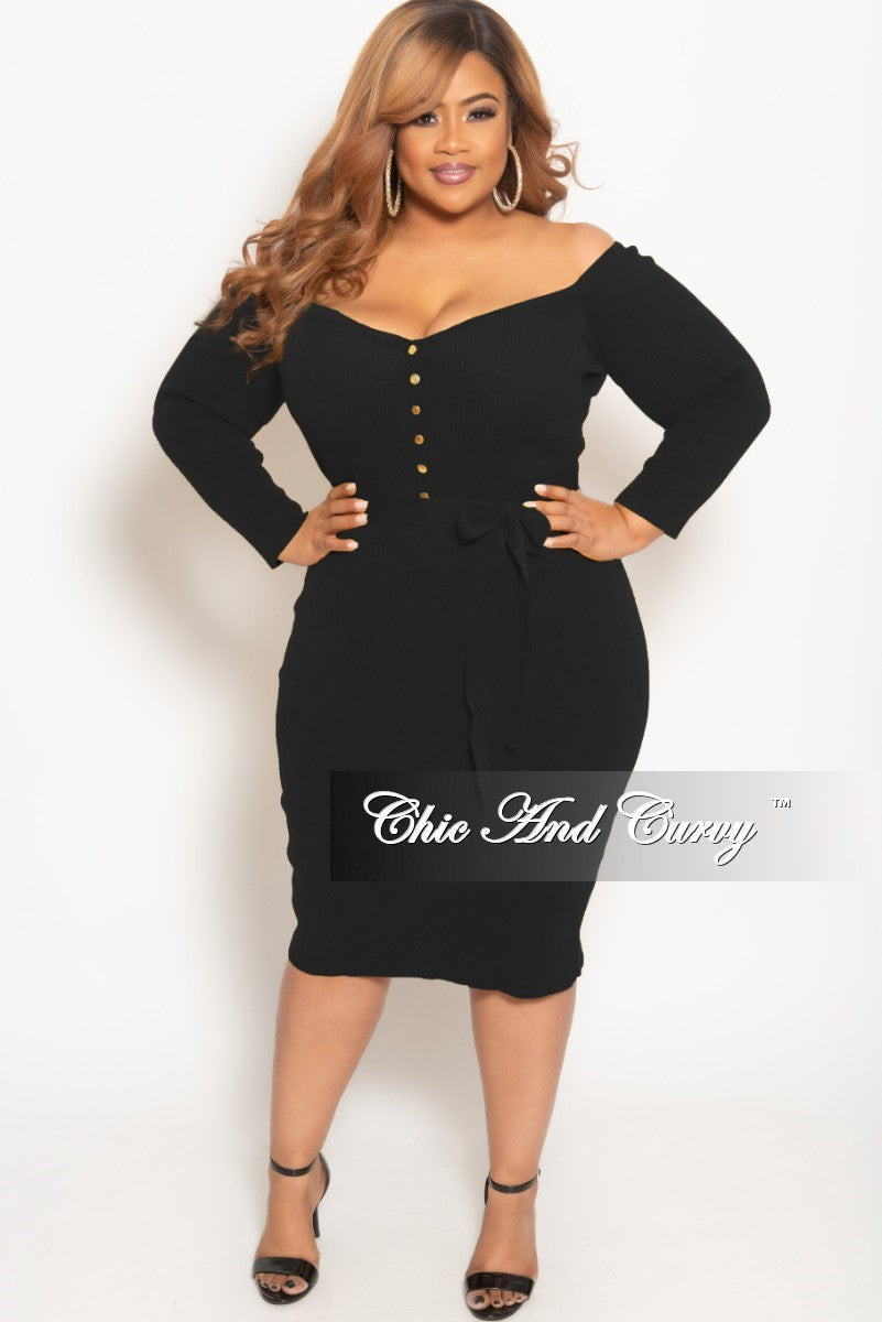ccfa830195da New Plus Size Off the Shoulder Button Up BodyCon Dress in Black Ribbed –  Chic And Curvy