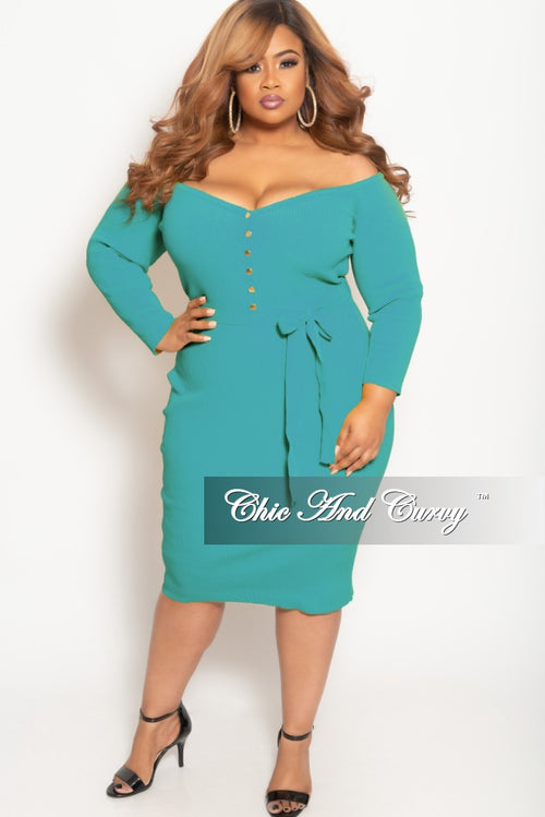 New Plus Size Off the Shoulder Button Up BodyCon Dress in Teal Green Ribbed Fabric