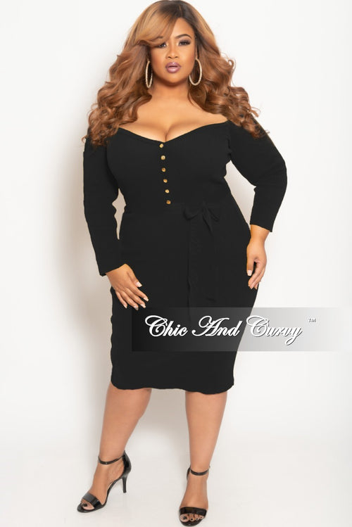 2c28323d92 New Plus Size Off the Shoulder Button Up BodyCon Dress in Black Ribbed  Fabric