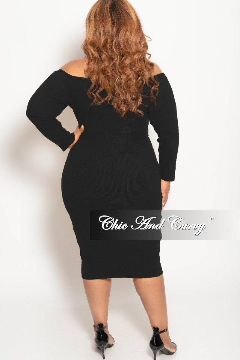 New Plus Size Off the Shoulder Button Up BodyCon Dress in Black Ribbed Fabric