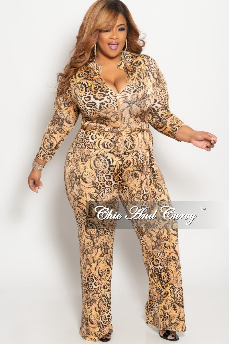 Final Sale Plus Size Zip-Up Jumpsuit with Attached Tie in Brown Animal Print