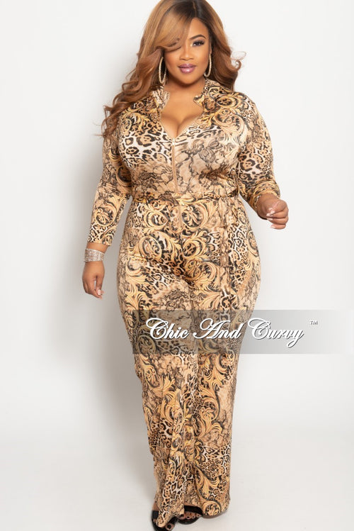 b680409709 Final Sale Plus Size Zip-Up Jumpsuit with Attached Tie in Brown Animal Print