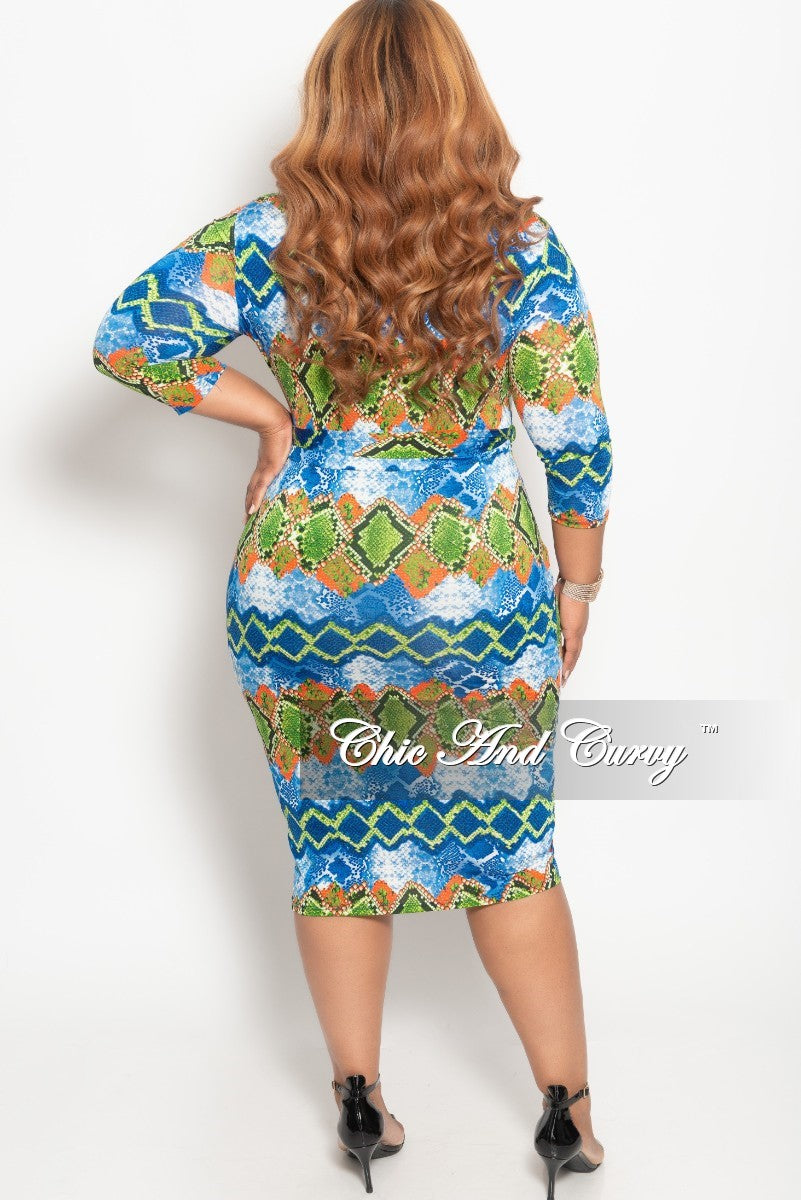 New Plus Size  Zip-Up Dress with Attached Tie in Blue Red and Green Snake Skin Print