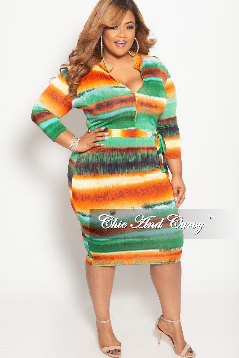 New Plus Size Stripe Long Sleeve BodyCon Dress with Attached Tie in Orange Green and Yellow Print