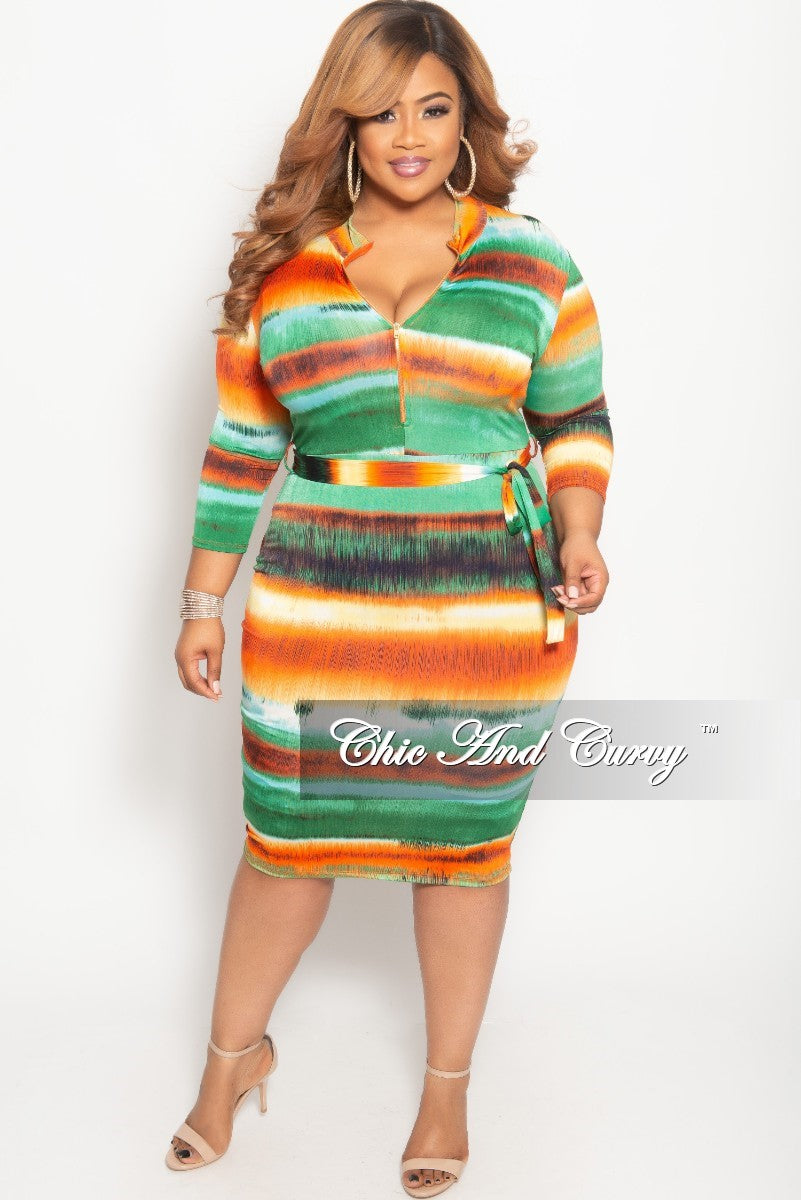 b3648df1762f New Plus Size Stripe Long Sleeve BodyCon Dress with Attached Tie in Or –  Chic And Curvy