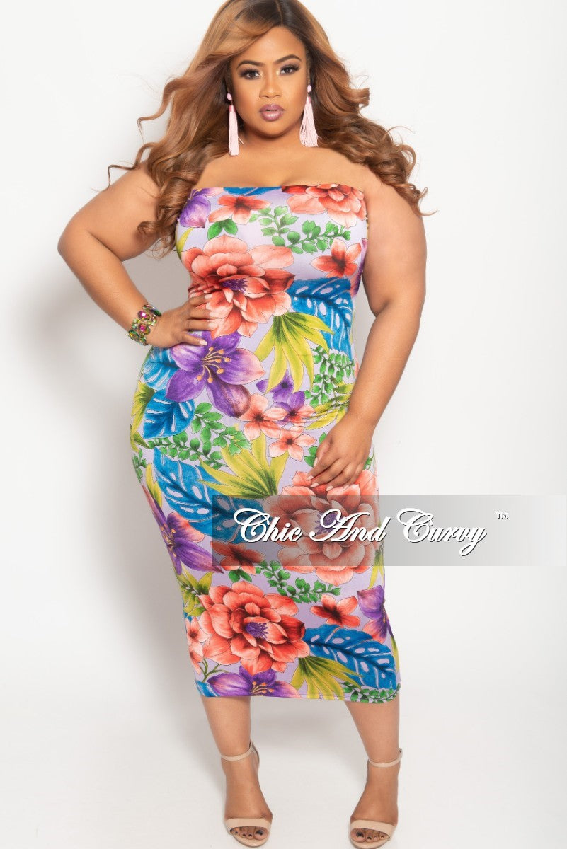 New Plus Size Tube Dress in Multi Color Floral Print – Chic And Curvy