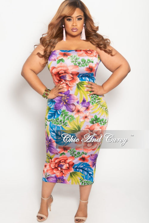New Plus Size Tube Dress in Multi Color Floral Print