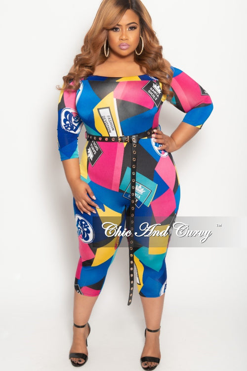 7aa511e7d96 New Plus Size Off the Shoulder Jumpsuit with Waist Belt in Multi Color Print