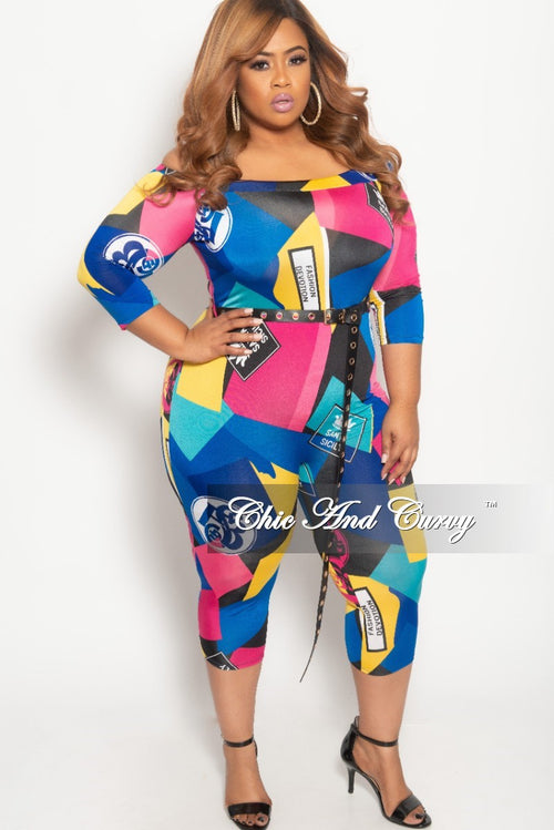 0d084042e8a New Plus Size Off the Shoulder Jumpsuit with Waist Belt in Multi Color Print