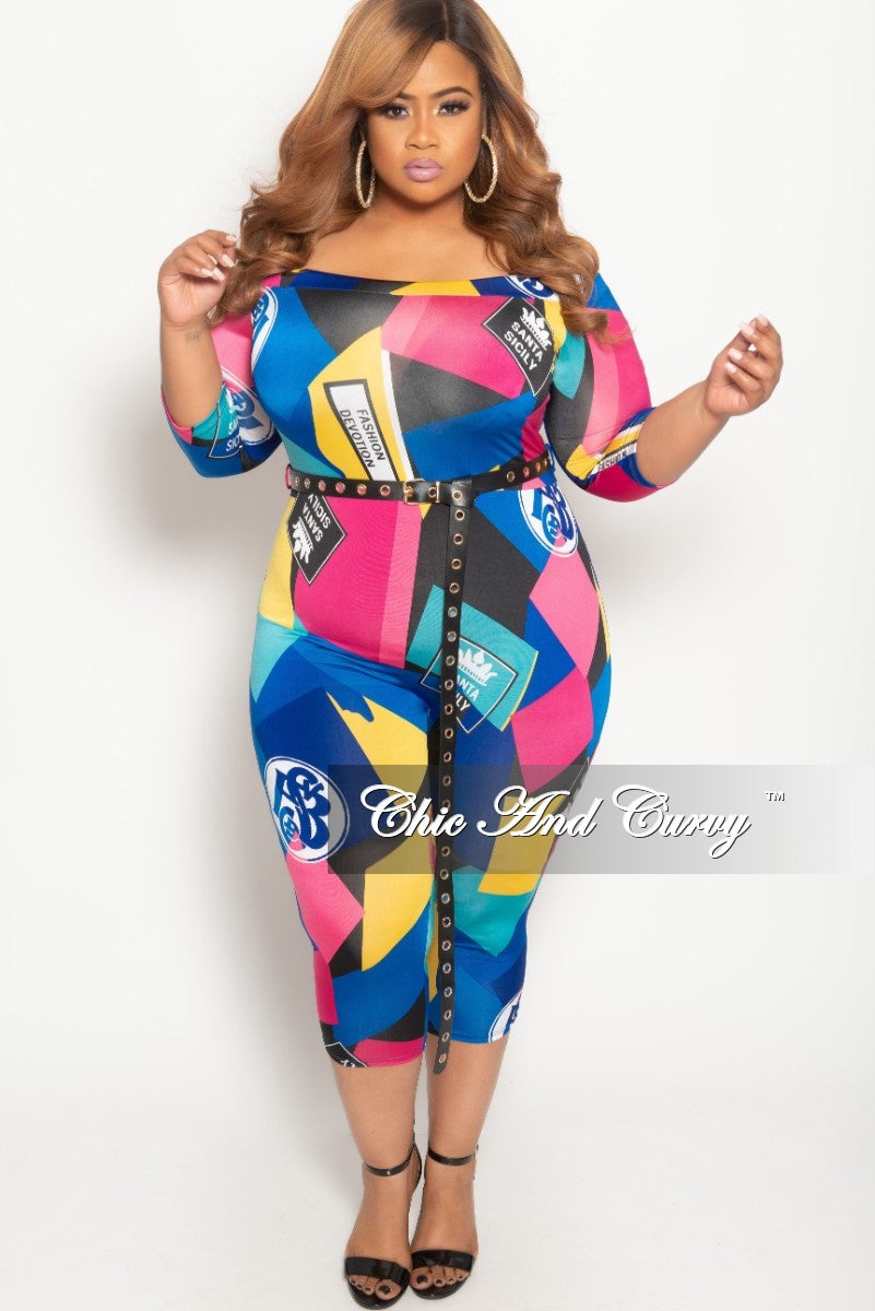 3e4cc64aa89 New Plus Size Off the Shoulder Jumpsuit with Waist Belt in Multi Color Print