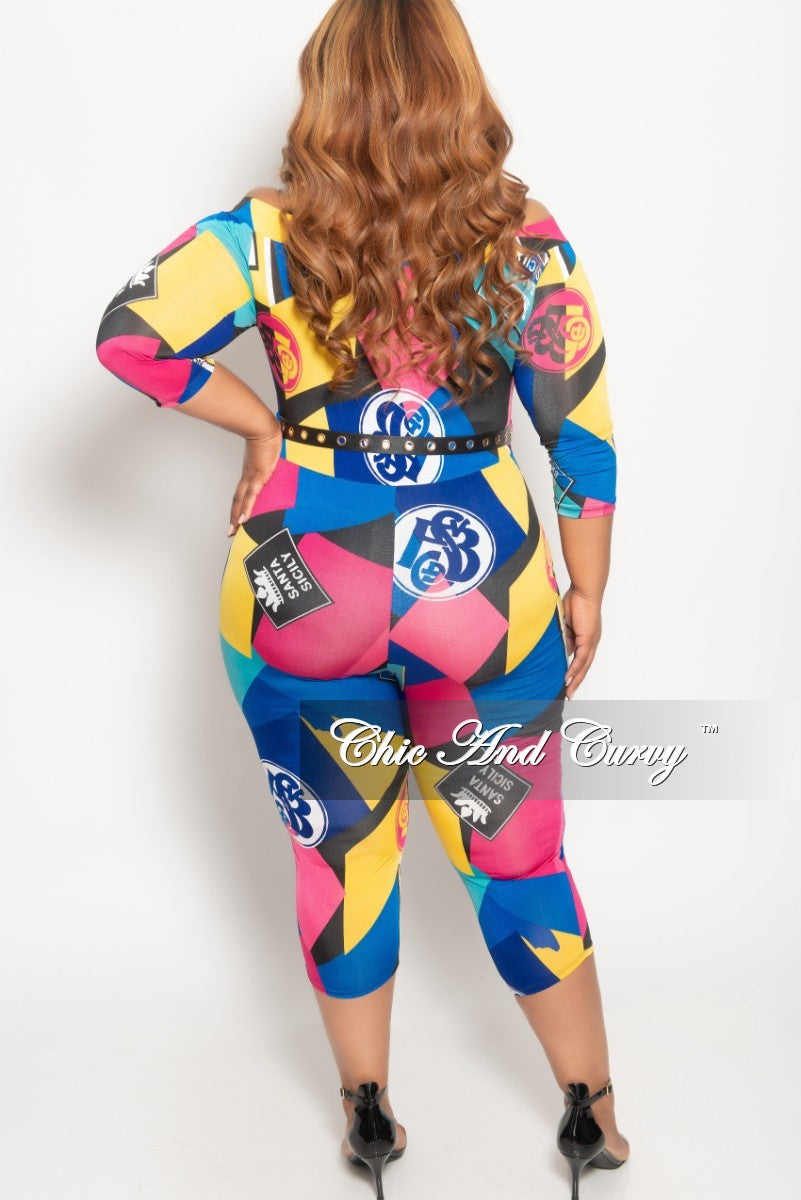 New Plus Size Off the Shoulder Jumpsuit with Waist Belt in Multi Color Print
