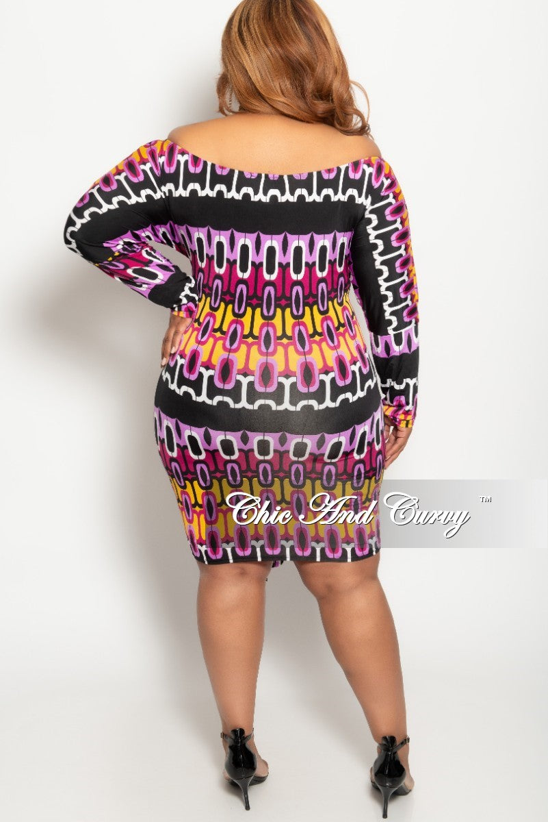 New Plus Size Off the Shoulder BodyCon Dress with Attached Tie in Lavender Mustard Black and White