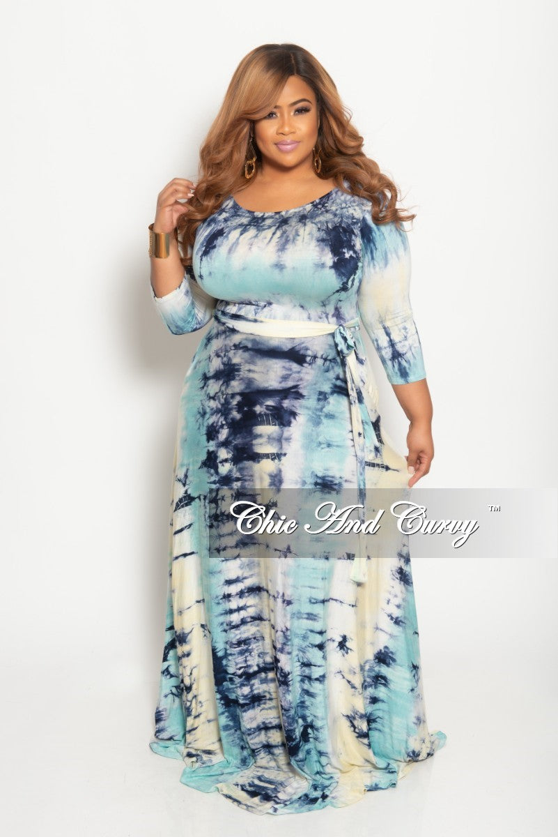 New Plus Size Long Dress with 3/4 Sleeve and Tie in Aqua Blue Tie Dye